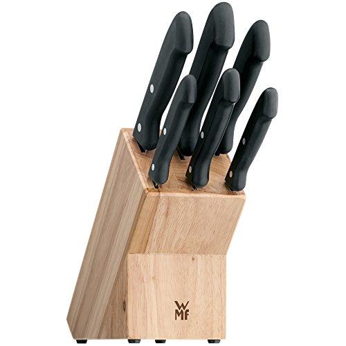WMF Classic Line Messerblock mit Messerset, 7-teilig, bestückt, 6 Messer, 1 Block aus Birkenholz, Spezialklingenstahl