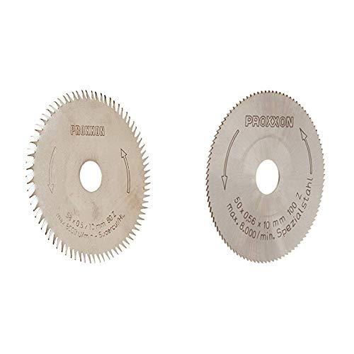 PROXXON 28014 Kreissägeblatt / Sägeblatt SuperCut (80 Zähne) & 28020 HSS Kreissägeblatt aus hochlegiertem Spezialstahl Ø50mm, fein gezahnt