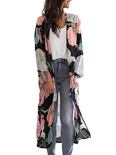 Minetom Femmes Mousseline de Soie Floral Longue Kimono Cardigan Boho Bohême Bikini Cover Up Maillot de Bain Robe de Plage Paréo A Rose XS