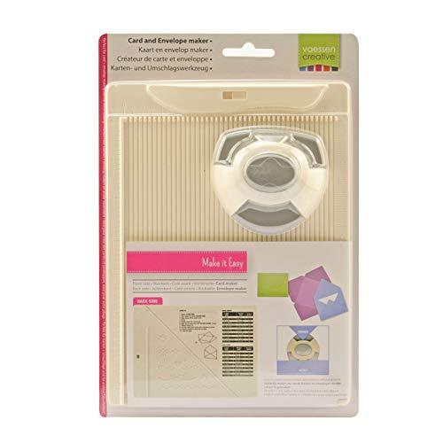 Vaessen Creative Falzbrett Karten und Briefumschläge Maker Set mit Stanzer, Metal, Plastic, Grey, 21.5 x 16.2 x 5 cm