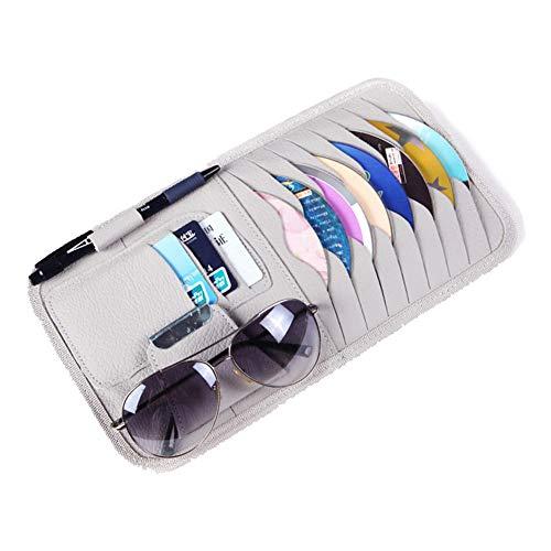 TrifyCore Auto Sonnenblende Carport CD DVD VCD-Discs Hülse Mappe PU-Ledertasche für Speicherhalter mit Brille und Karten Organizer Clips Gray, Startseite Praktisches Zubehör