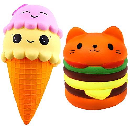 Desire Deluxe Squishy Jumbo Squishis Set Spielzeug für Jungen Mädchen Squishies Langsames Aufstehen Duftend squishys EIS Wassermelone Pack