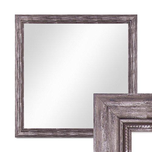 PHOTOLINI Wand-Spiegel 70x70 cm im Massivholz-Rahmen Barock-Stil Antik Silber Quadratisch/Spiegelfläche 60x60 cm