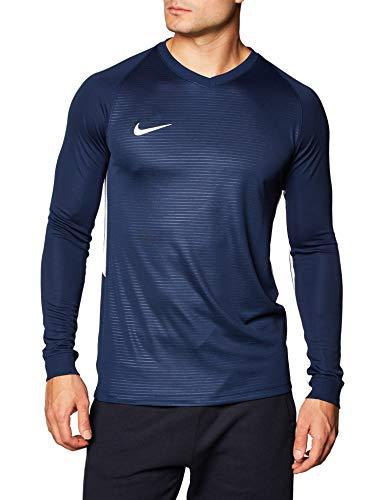Nike M Nk Dry Tiempo Prem JSY LS T-Shirt A Manica Lunga, Uomo, Midnight Navy/Midnight Navy/White/(White), S