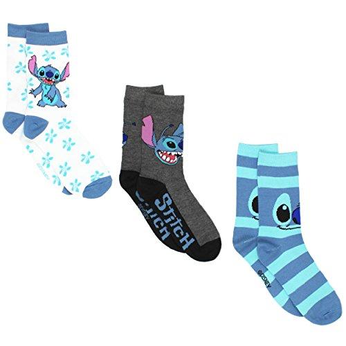 Disney Lilo & Stitch 3 pack Crew Socks (9-11 (Shoe: 4-10), Stitch White/Blue)