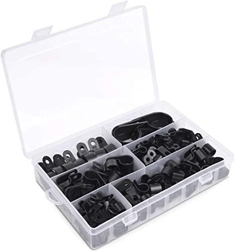 Coolty 200 Stück Nylon Kabelklemme, Schlauchbefestigung R-Typ Klemmen, Car Audio Fastener Kunststoff-Drahtklemmen (Schwarz)