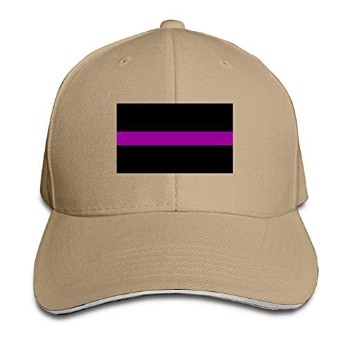 XCNGG Sombreros Ajustables del papá de la Bandera de la línea púrpura Fina Gorra del Visera al Aire Libre del Sombrero del Camionero Sandwich