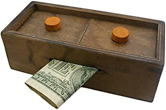 Puzzle Box Enigma Secret Explorer - Money and Gift Card Holder in a Wooden Magic Trick Lock with Hidden Compartment Piggy Bank Brain Teaser Game