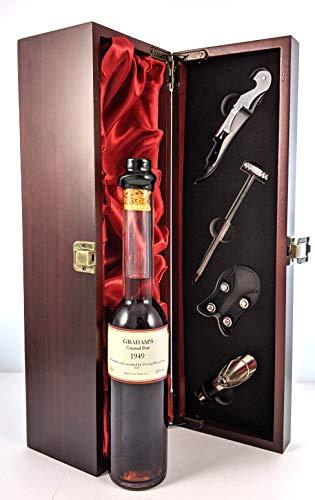 Graham's Crusted Port 1949 (Decanted Selection) 20cls en una caja de regalo forrada de seda con cuatro accesorios de vino, 1 x 200ml