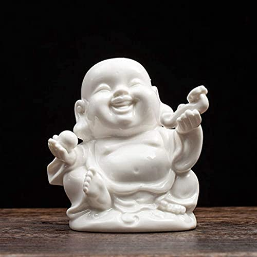 YITOG Laughing Buddha Statues Sculptures White Porcelain Buddhism Lucky/Happy/Wealth/Peace Sign Home Decor