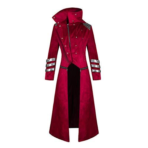 AmyGline Steampunk Herren Lange Mantel Frack Retro Gothic Jacke Gehrock Stehkragen Windjacke Uniform Viktorianischen Smoking Jacke Mäntel Praty Bankett Punk Kleidung Cosplay Kostüm
