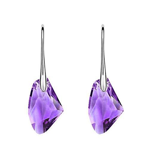 Yowablo Boucles d'oreilles Boucles d'oreilles pour Femmes Mode Nouveau Cristal Strass Cristal autrichien (Violet)