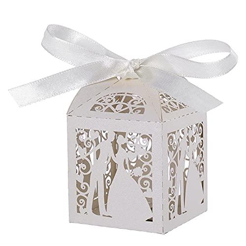 BAWAQAF Cajas de Regalo, 50 Cajas de Regalo pequeñas para Parejas, Cajas de Regalos de Lujo para Dulces de Boda, con Decoraciones de Mesa de Cinta para Suministros de Fiesta