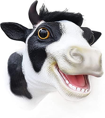CreepyParty Kuh Handpuppen Realistische Latex Gummi Soft Toys Farm Animal Head Handpuppe für Kinder