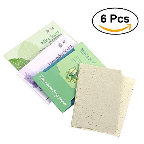 frcolor öil Control Paper 6 morceaux öil löschpapier pour le visage (Thé Vert * 2 + lavande * 2 + Mint * 2)