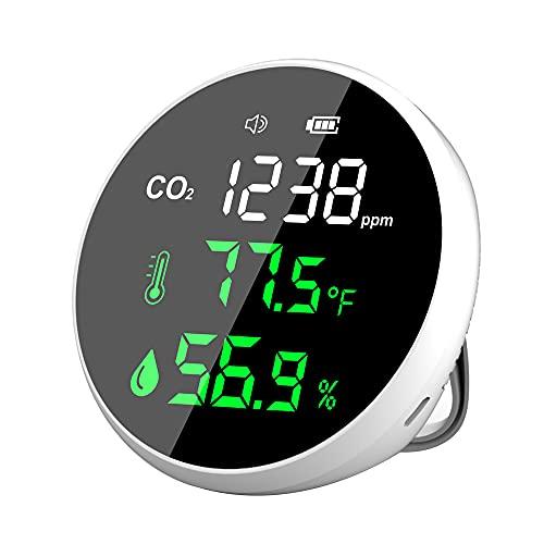 Monitor de calidad del aire en interiores, medidor de CO2 colgante para detectar dióxido de carbono, temperatura y humedad, sensor NDIR, alarma de CO2, detector de CO2 en tiempo real para el hogar, aula, oficina, coche