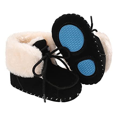 Nomere Newborn Baby Boys Girls Snow Boots Premium Soft Sole Anti-Slip Winter Warm Booties Prewalker Infant Toddler Crib Shoes (Small / 0-6 Months,Black)