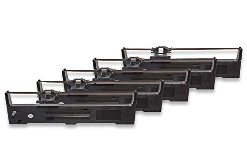 vhbw 5x Cinta de tinta de nailon para su impresora matricial Epson FX-590, FX-890, FX590, FX890, LQ-590, LQ-890, LQ590, LQ890 como C13S015337.