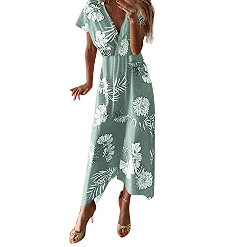 RKWEI Damen Kleider Sommerkleid Damenmode Casual Print V-Ausschnitt Asymmetrisch Knöchellange Partykleider Blumenmuster Sommerkleid -Mint_Green_S