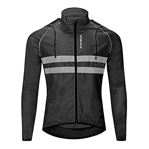 WOSAWE Giacche con cappuccio Uomo Ciclismo Leggero Impermeabile Moto Vento Cappotto Riflettente Corsa Alpinismo Abbigliamento Sportivo(Nero L)
