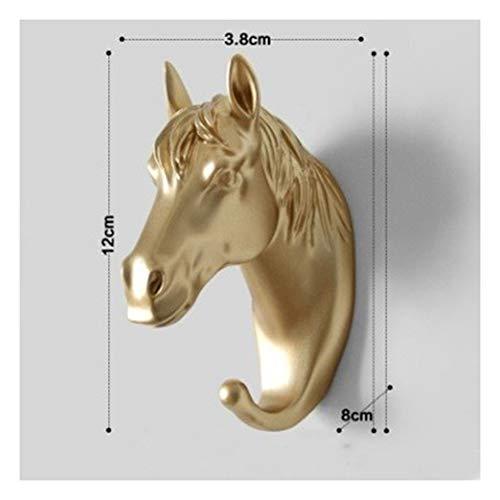 Gold Muur Kapstok Thuis Wanddecoratie Dierenkop Rack, 3D Stereo Animal Plastic Hat Coat Hanger Hook (Color : Horse)