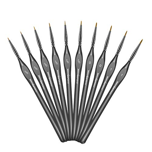 Fuumuui 10pcs Detail Paint Brush, Miniature Best Professional Brushes Will Keep a Fine Point and Spring, for Paint by Numbers, Watercolor, Oil, Acrylic, Nail Art & Models