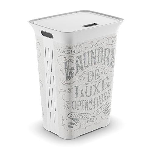 Keter Cesta Portabiancheria con Coperchio Chic Style Laundry Bag 44 x 35 x 61 cm, Capacità 60 litri