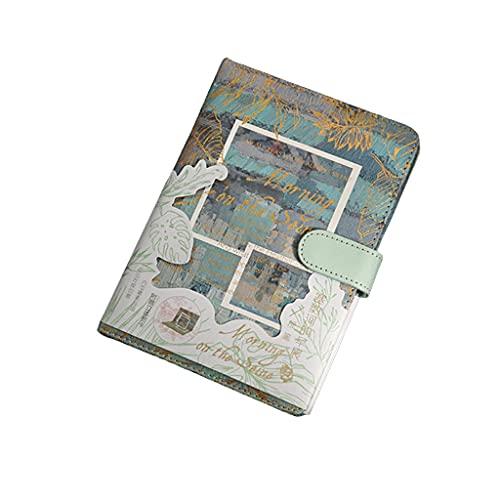 HUANHUI Hardcover Color Color Pintura al óleo Paisaje Paisaje Hebilla magnética Hand Book PU Cubierta + Página Interna a Todo Color Regalo Cuaderno Multifuncional (Color : Green)
