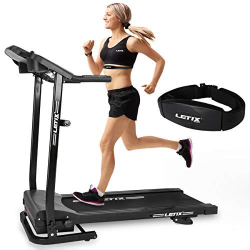 Letix Sports Motorisiertes Laufband mit APP Steuerung (Tablet, Smartphone) inkl. Pulsgurt, LCD-Display Elektrisches Fitnessgerät Heimtrainer Klappbar (schwarz)