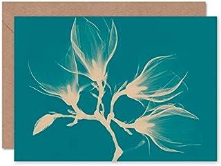 Fine Art Prints Magnolia Branch Xray Blue gratulationskort med kuvert inuti premiumkvalitet