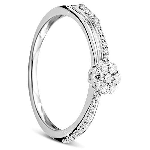 Orovi Damen Verlobungsring Gold Solitärring Diamantring 9 Karat (375) Brillanten 0.25carat Weißgold Ring mit Diamanten