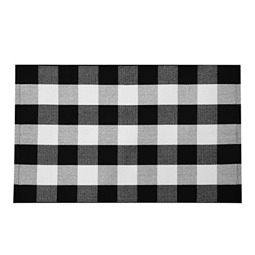 EARTHALL Buffalo Plaid Outdoor Rug 27.5 x 43 Inches Cotton Hand-Woven Checkered Front Door Mat, Washable Outdoor Rugs for Layered Door Mats Porch/Front Porch/Farmhouse Black and White