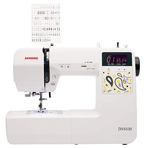 Janome JW8100 Fully-Featured Computerized Sewing Machine with 100 Stitches, 7 Buttonholes, Hard Cover, Extension Table and 22 Accessories