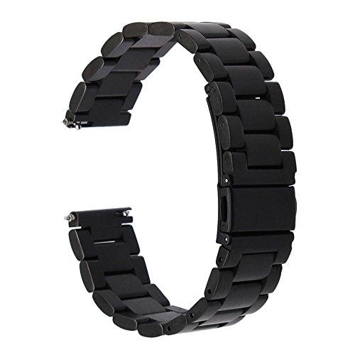 Vinciann Correa Acero inoxidable negro + conectores para Smartwatch Fossil Q Marshal/Tailor/Venture/Gazer/Founder 12/Wander/crewmaster/Grant/eXplorist FS17