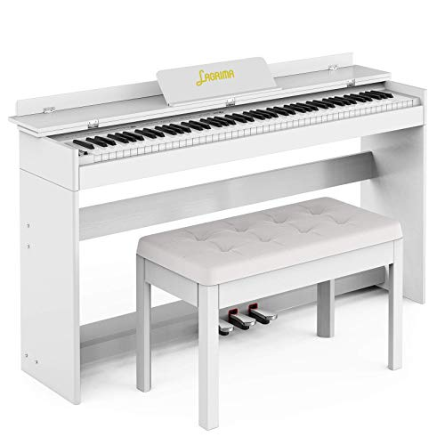 LAGRIMA Digital Piano with Bench, 88 Key Electric Piano for Beginner/Adults with Padded Piano Bench+Music Stand+Power Adapter+3-Pedal Board+Instruction Book+Headphone Jack, White