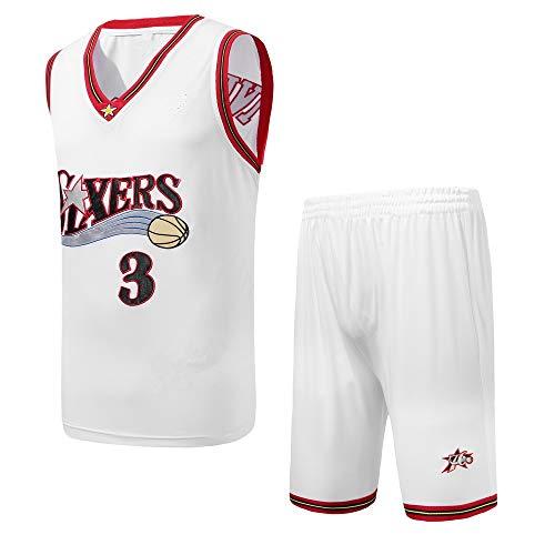 OLIS Retro Basketball Uniform Nr. 3, Allen Iverson Sommersport NBA Trikot, Basketballhemd Klassisches Stickerei-Top und Shorts (S-3XL)