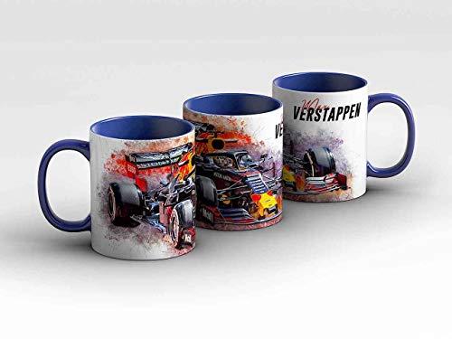 gasoline.gallery Formel 1 Tasse - Max Verstappen - Aston Martin RB Racing - Front blau Kaffeebecher