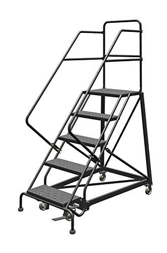 Tri-Arc KDEC105246 5-Step Forward Descent Safety Angle Steel Rolling Industrial and Warehouse Ladder with Perforated Tread, 24