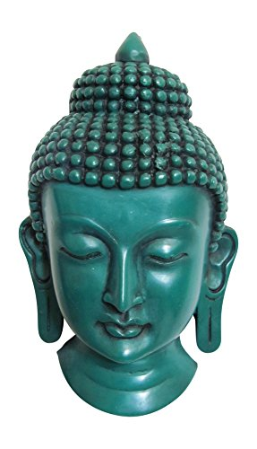 Vintage Style Carved Nirvana Buddha Head Mask Wall Hanging Sculpture (Green)