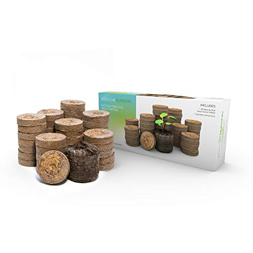 Window Nursery Natural Seed Starter Pellets 36 mm 48 Count Fiber Soil Direct Plant Seed Starters Expands with Water, Grow Herbs, Flowers and Vegetables.