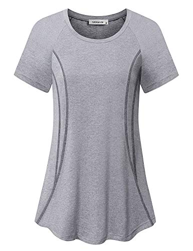 MOQIVGI Gym Shirts for Women, Short Sleeve Workout Tops, Loose Fit Soft Stretchy Casual Summer Essential Running Jogging Yoga Exercise Fitness Apparel Grey Large