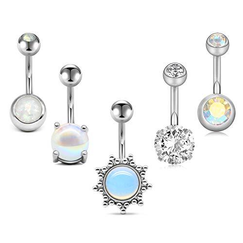 Briana Williams 4-5 Piercing de Ombligo Acero quirurgico 14G 10mm Anillos de Butón de Vientre con Cristal Opalo CZ Perla