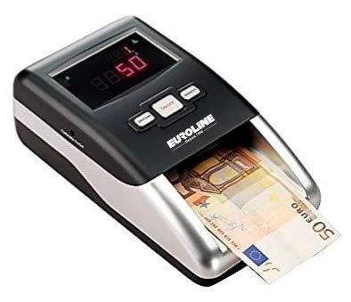 EUROLINE - Détecteur de faux billets automatique - Certifié 100% détection de faux billets par la Banque Centrale Européenne - prêt pour le nouveau billet € 100 et € 200 - Secteur + Batterie rechargeable Li-ion incluse
