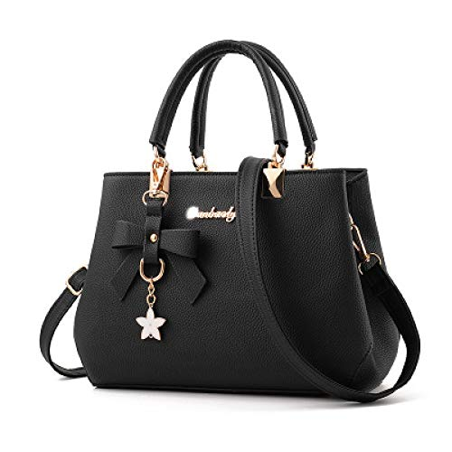 REBKW Women Bag Vintage Handbag Casual Tote Fashion Women Messenger Bags Shoulder Top-Handle Purse Wallet Leather 2021 New Black Blue(black,30cm)