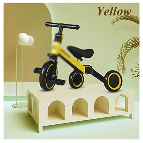 WJTMY Infant Shining Kinderdreirad 3-in-1 Kinder Roller Balance Bike 1-6 Jahre Fahrt mit dem Auto 3 Räder Nicht aufblasbar (Color : Yellow)