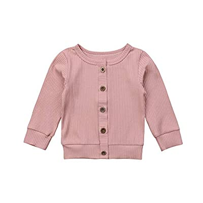TiendaDeLage Newborn Baby Boy Girl Clothes Solid Button-Down Knitted Cardigan Sweater Coat (Pink Cardigan Sweaters,3-6 Months)