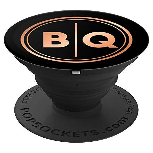 Elegante Buchstaben BQ Initialen Monogramm BQ auf Schwarz - PopSockets Ausziehbarer Sockel und Griff für Smartphones und Tablets