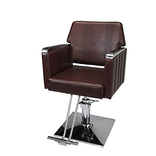JAXPETY Heavy-Duty Square Hydraulic Barber Chair with Adjustable Height, Ergonomic Salon Equipment, Cushioned Hair Styling Chair for Beauty Spa Shop, 360-Degree Swiveling, Armrest,Brown