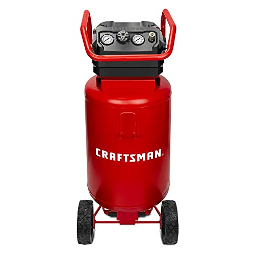 CRAFTSMAN Air Compressor, 20 Gallon, 1.8 HP, Oil-Free Air Tools, Max 175 PSI Pressure, 2 Quick Coupler, Long Lifecycle Low Noise, Model: CMXECXA0232043, Red (Renewed)