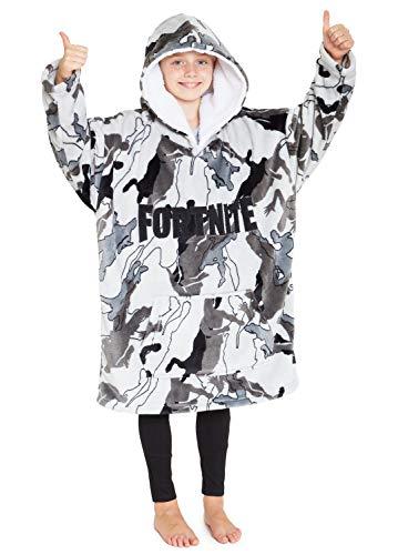 Fortnite Hoodie for Boys, Oversized Hoodie Sweatshirt Blanket, Super Soft Fleece Dressing Gown, Warm Comfortable Hooded Robe, Gifts for Gamers Boys Girls Teens 7-14 Years (Grey)